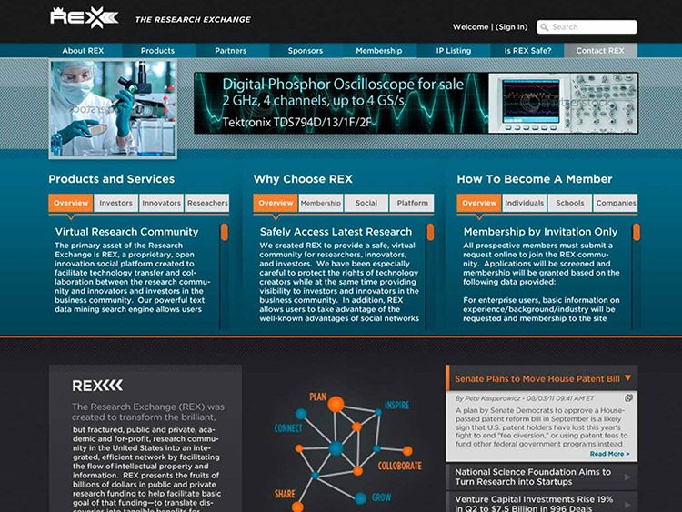 Screenshot of The Research Exchange main page